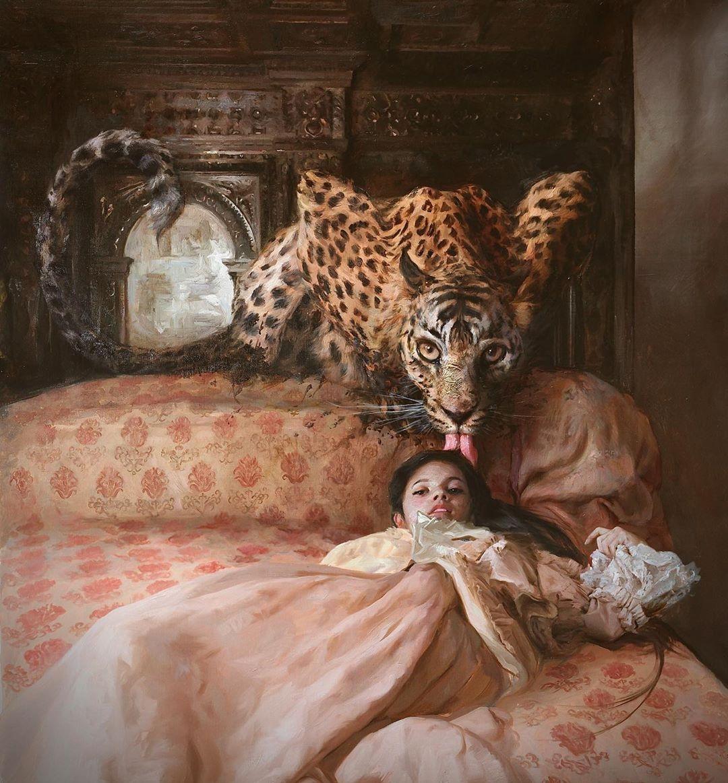 1080x1163, 494 Kb / зеркало, постель, девушка, картина, язык, леопард