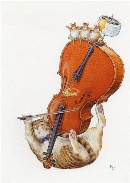 431x604, 43 Kb / Питер Кросс, кот, мыши, сыр, хомяки, крысы, контрабас, рисунок