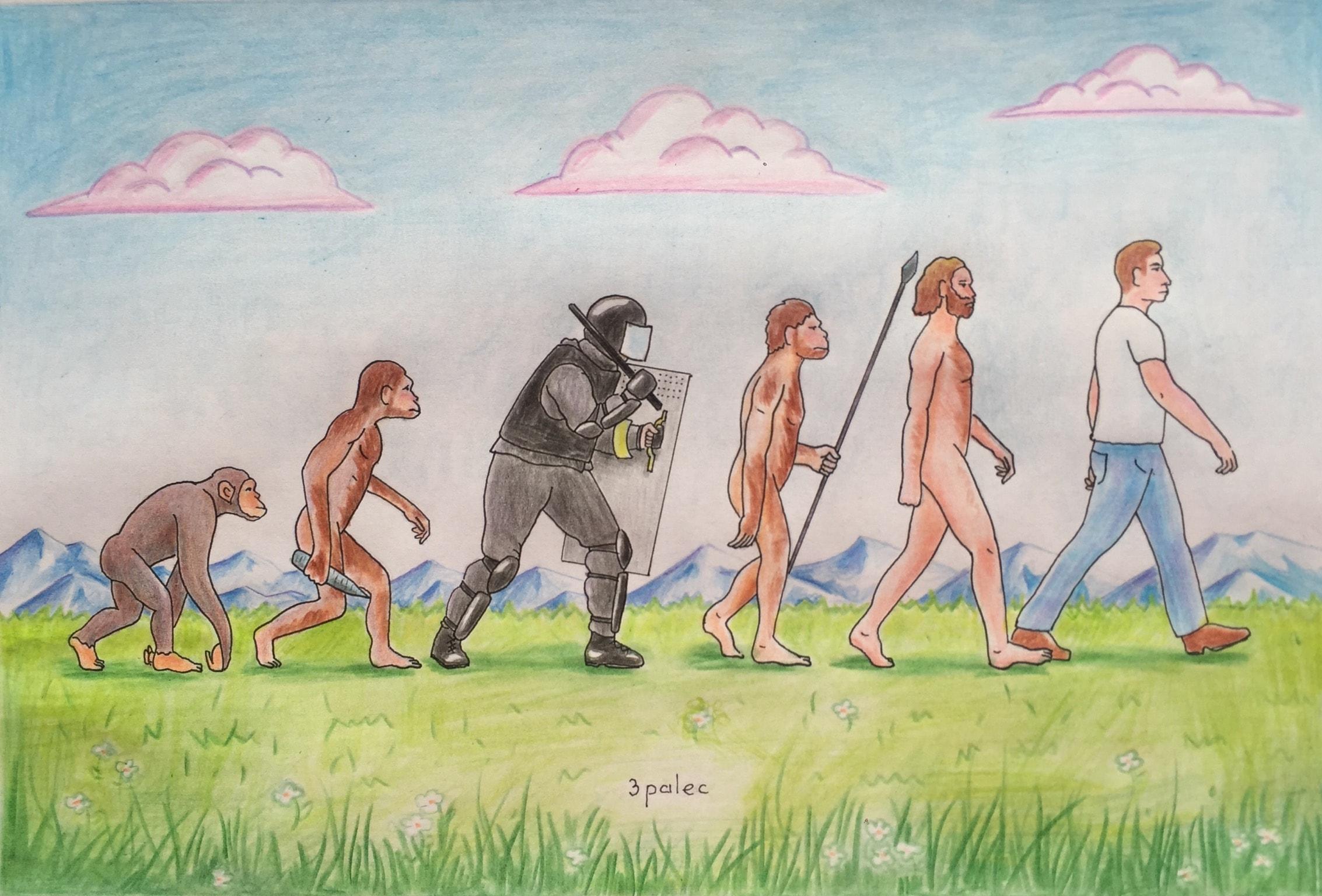 2266x1536, 508 Kb / эволюция, омон, карикатура