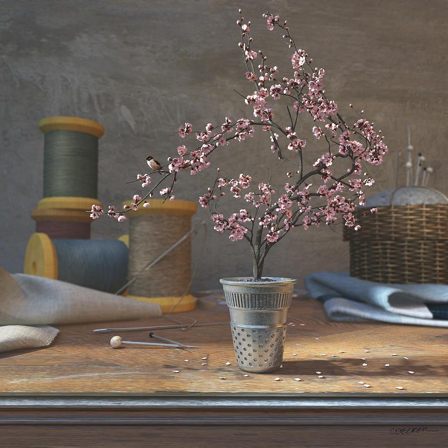 900x900, 136 Kb / сакура, дерево, наперсток, булавки, иглы, игольница, нитки, ткань, лен