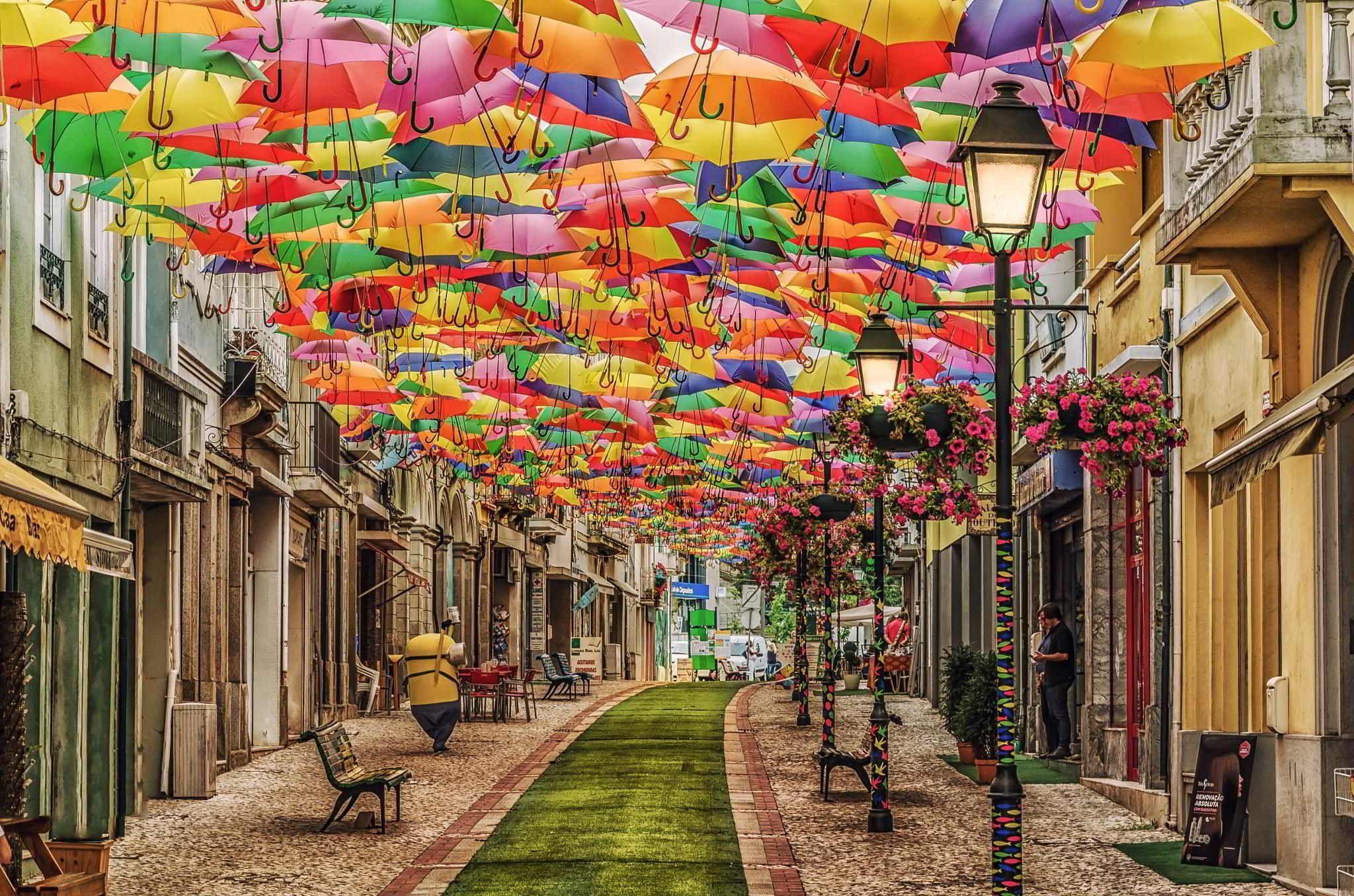 2048x1356, 531 Kb / улица, Португалия, зонты, скамейки, тротуар, фонари, здания